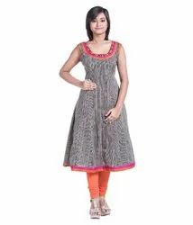 Sleeveless Anarkali Cotton Kurti