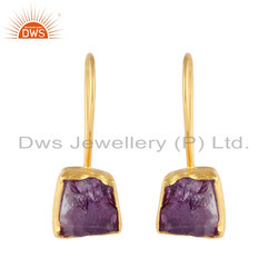 Nugget Design Gold Plated 925 Silver Amethyst Gemstone Earrings