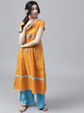 Mustard Dobby Woven A-Line Kurta with Embroidered