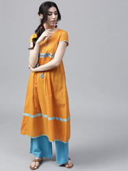 Mustard Dobby Woven A Line Kurta With Embroidered