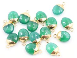 Green Onyx Gold Plated Oval Beralite Pendant