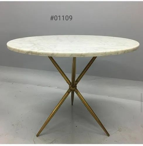 Gold Brass Coffee Table With Marble Top