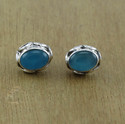 Silver Beautiful Blue Chalcedony Gemstone Stud Earring