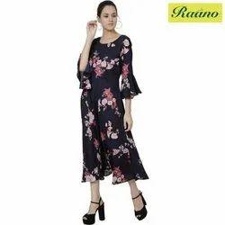Floral Print Georgette Women Maxi Black Dress, Size: S-XL