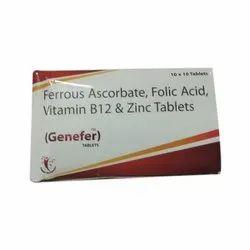 Genecia Ferrous Ascorbate Folic Acid Vitamin B12 and Zinc Tablets, 10*10 Tablet