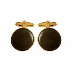 Gold And Brown 92.5 Sterling Silver Unisex Cufflinks