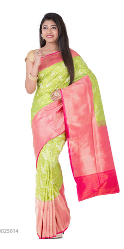 6b4592a790 Wedding Wear Zari Brocade Green Banaras Silk Saree, With Blouse Piece