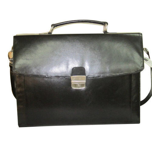 Leather Black Flap Over Briefcase