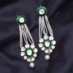 Designer Polki Pearl Dangler Earring in Sterling Silver