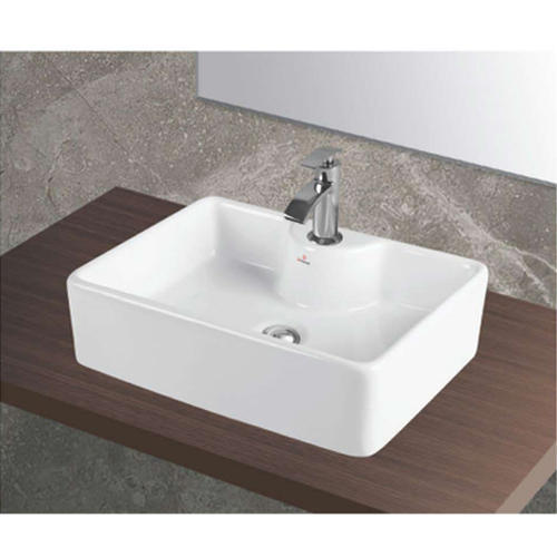 White Rectangular Table Top Ceramic Wash Basin, Usage ...