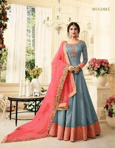 8e3d02af88 Indian Ethnic Designer Pure Silk Embroidered Party Wear Anarkali Suit, Adult