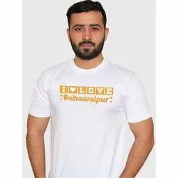 White Mens Round Neck Printed T Shirt