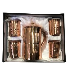 4 Glass 1 Jug Copper Gift Set