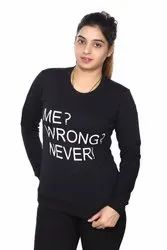 A2 Designs Black Women Winter Wear Sweat Shirt, Size: XL