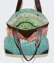 Vintage Kantha Handmade Bag with Leather handle