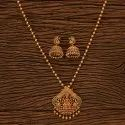 Rubygreen, Ruby Length = 18 Inch Antique Temple Pendant Set With Matte Gold Plating 23121
