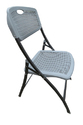 Folding Chair (Perforated)-Plastic Seat (Grey)