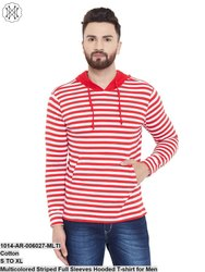 Gritstone Multicolored Striped Full Sleeves Hooded T-Shirt for Men