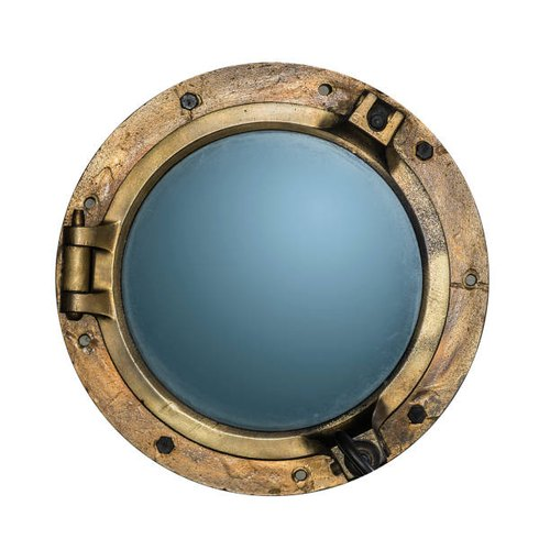Brass Antique Porthole Mirror, Size: 12 Inch
