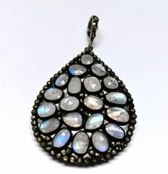 Natural Gemstones Sterling Silver Oxidized Pendants