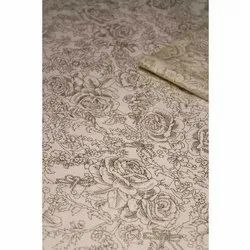 Gold Print On Off White Linen Fabric, GSM: 50-100