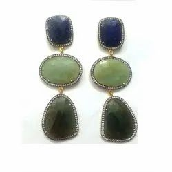 Gemstone Pave Diamond Victorian Danglers