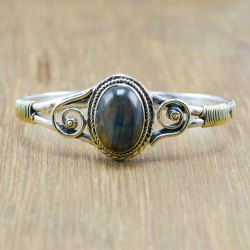 925 Sterling Silver And Brass Unique Jewelry Labradorite Gemstone Bangle Wb-5883