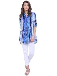 Blue Printed Long Top