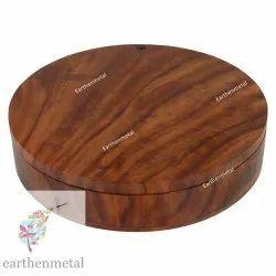 Sheesham Wood Round Spice Box