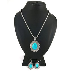 Oxidized Sky Blue Round Stone Necklace with Earrings Set