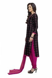 Black, Pink Ladies Unstitched Printed Cotton Suits, Machine wash