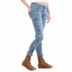Ladies Blue Retro Damage Jeans, Size: 28-38