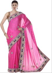 Hot Pink Hand Work Saree