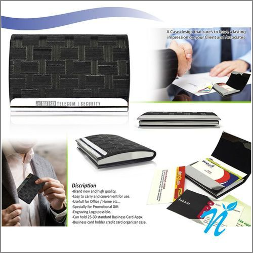 1269e85f7b13 Black Leather And Stainless Steel NICP-1132 Visiting Card Holder