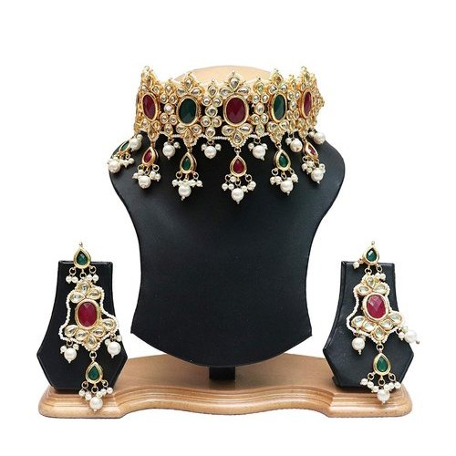 Brass Indian Bollywood Red Green Rani Choker Necklace Earrings Set