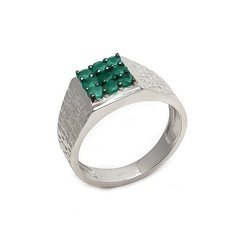 Natural Green Onyx Gemstone 925 Sterling Silver Mens Ring High Polish Jewelry