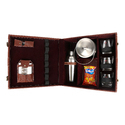 Brown Check - 03 with Ice Bucket Travel Mini Bar Set