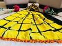 Bodacious Hand Block Soft MalMal Cotton Saree with POMPOM Lace with BlousePiece