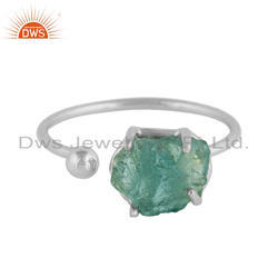 Raw Apatite Gemstone Sterling Silver Adjustable Ring