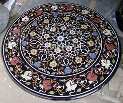 Black Round Inlay Table Top