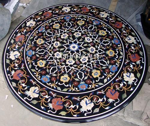 Inlay Marble Table Tops Black Round Inlay Table Top