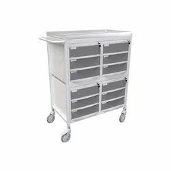 Hospital Monitor Trolley - (MTR - 703) - Trolley With Twelve Lockable Moulded Drawers