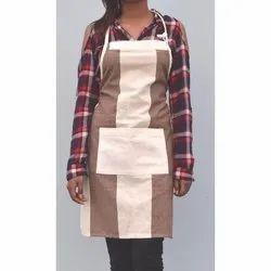 厨房用棉棕色条纹围裙