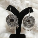 Round Oxidized Silver Fancy Earrings