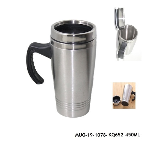7b3684d3f98 Silver Stainless Steel Insulated Travel Mug With Sipper Lid -MUG-19,  Capacity: