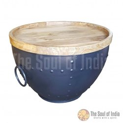 Metal Bowl In Mix Grey Powder Coating Finish With Big Handles And Tray Made Of New Mango Wood.