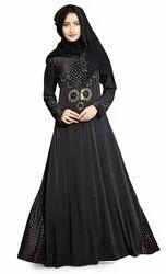 Black Color Embossed Velvet Anarkali Style Burkha With Golden Diamond Stone Work With Dupatta