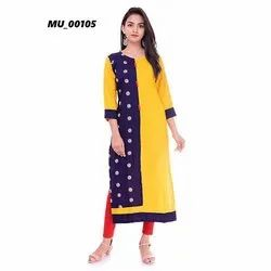 Yellow & Blue Ladies Kurti