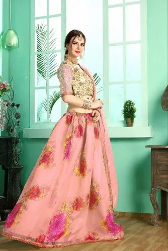 379d24c92 Embroidery Design Party Wear Organza Silk Lehenga Choli, Rs 2299 ...
