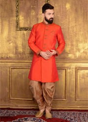 d5af0c4621 Orange Traditional Wear Wedding Wear Designer Mens Silk Sherwani, Rs ...